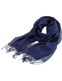 Prettystern - couleur unie lâchement tissé à long frangée 100% lin Printemps & Été Foulard - 15 couleurs