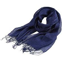 Prettystern - liso lino plano de tejido suelto de largo con flecos 100% ropa de primavera y verano de la bufanda - selección de color