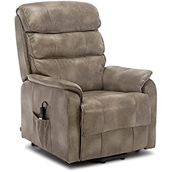 Enjoyable More4Homes Buckingham Dual Motor Electric Rise Recliner Bonded Leather Armchair Sofa Mobility Chair Stone Creativecarmelina Interior Chair Design Creativecarmelinacom