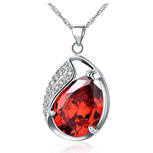 YLR 18 K, rot-vergoldet mit Weißgold Zirkonia Oval Jewelry Anhänger Halskette