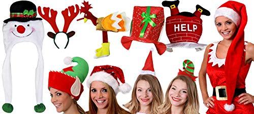 rty Pack 10Stück Herren Damen Weihnachts Kostüm Fancy Dress Zubehör Set große Neuheit Chiristmas Hüte Family Pack ()