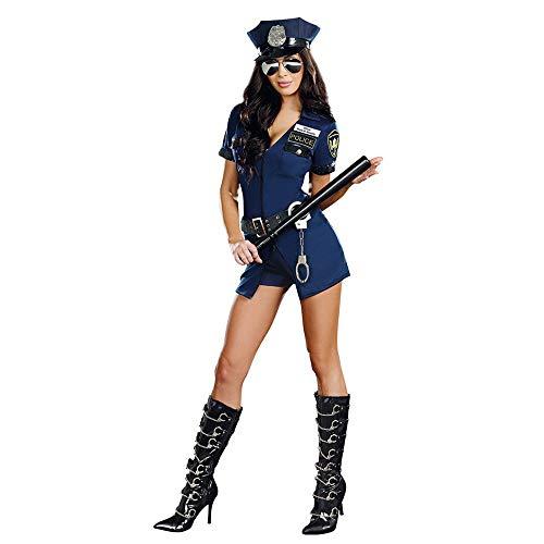 (HaoLiao Rollenspiel Uniform, Blaue Polizei-Uniform, Halloween-Polizei spielt Uniform,M)