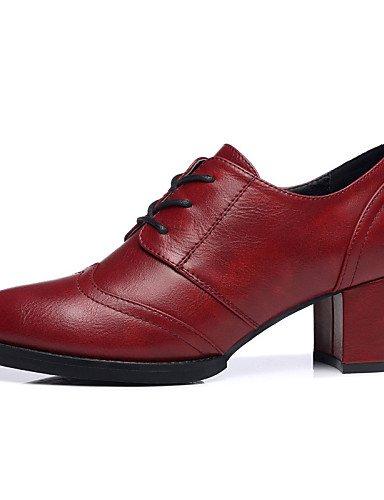 ZQ Scarpe Donna - Stringate - Matrimonio / Ufficio e lavoro / Formale / Casual / Serata e festa - Tacchi - Quadrato - Finta pelle -Nero / , 3in-3 3/4in-red 3in-3 3/4in-black
