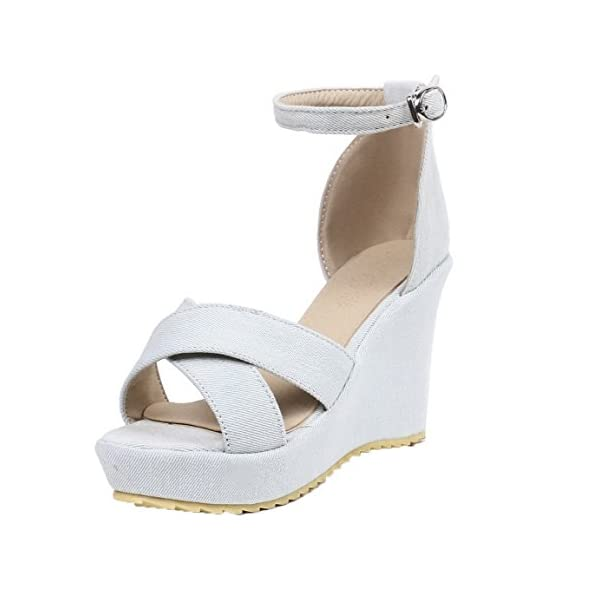 AgooLar Women Fabric Solid Buckle Open-Toe High-Heels Sandals, GMDLB032934 41BDJyzIxkL
