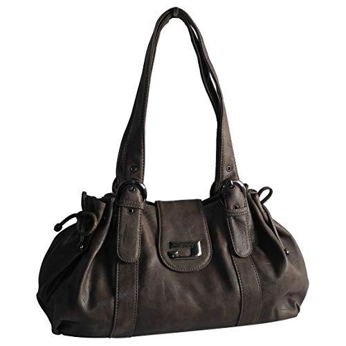 Schultertasche von Jennifer Jones - Moderne Damen Handtasche Umhängetasche Shopper Henkeltasche Damentasche (Taupe) - präsentiert von ZMOKA®