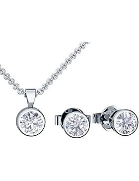 Schmuckset Silber 925 von AMOONIC mit SWAROVSKI Zirkonia **inkl. LUXUSETUI** Schmuck Kette und Ohrringe Halskette...