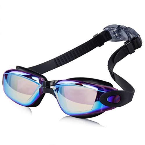 JSMH Taucherbrille mit integrierten Ohrstöpseln, Anti-Beschlag, UV-Schutz, für Herren und Kinder