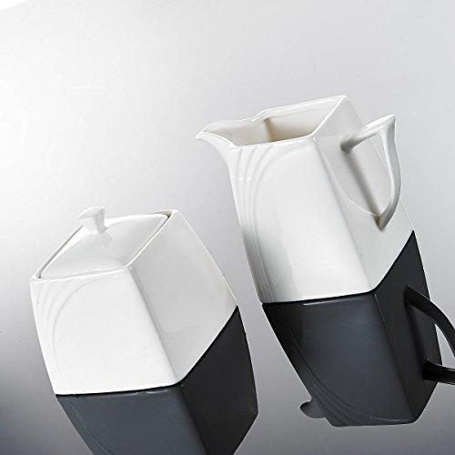 Malacasa, Serie Monica, 3-teilig Cremeweiß Porzellan Milch und Zucker Set mit Deckel, Milchkännchen Zuckerdose Milch- & Zuckerbehälter Küchenhelfer