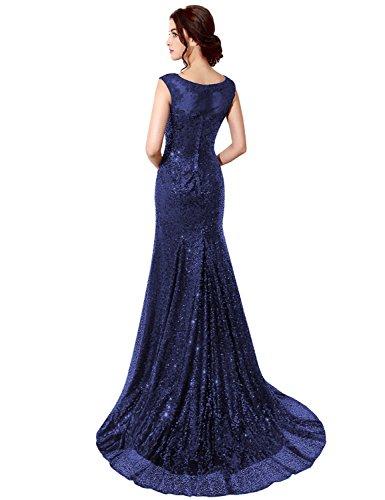 Sarahbridal Damen Bodenlang Mermaid Rundhalsausschnitt Ärmellos Abendkleider mit Pailetten Ballkleid SSD197 Marineblau