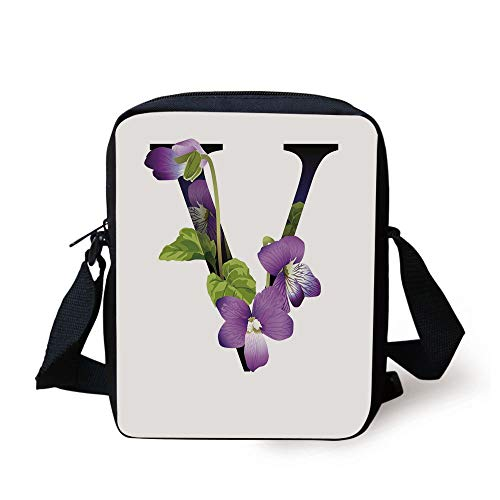 ZKHTO Letter V,Viola Sororia Wildflowers on the V Natural Arrangement Floral Initial Decorative,Violet Green Black Print Kids Crossbody Messenger Bag Purse - Hot-viola