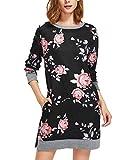 Auxo Damen Pullover Floral Kleid Langarm Sweatshirts Tunika Tops Rundhals Mini Kleider Schwarz Small