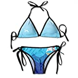 Photo de Sexy Triangle Bathing Two Pieces Women Triangle Bikini Set Little Boat Sailing in The Sea Tie Side Padding Bathing Swimsuit par HAMANY