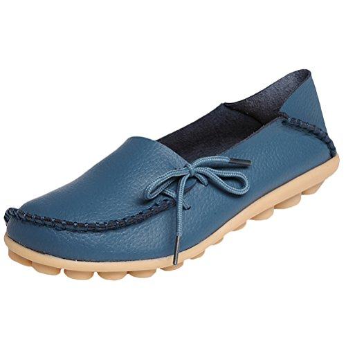 Vogstyle Damen Casual Slipper Flatschuhe Low-top Schuhe Erbsenschuhe Dunkelblau-Art 1