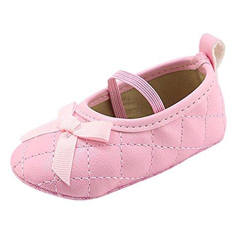 MiyaSudy Baby Schuhe Neugeborenen Mädchen Weiche Sohle Bogen PU-Leder Mokassins Erste Wanderer 0-18 Monate Pink
