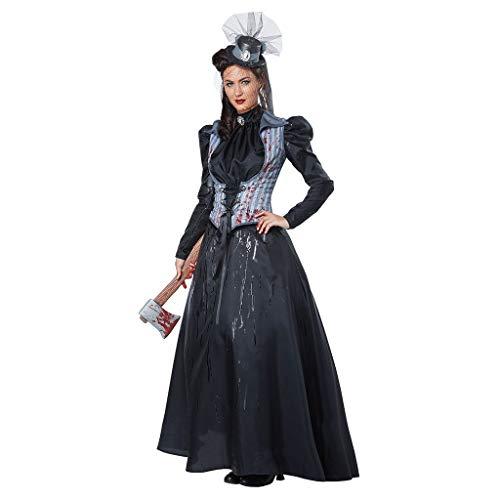 Erwachsene Kostüm Witwe Für Schwarze - Dasongff Damen Geister Schwarze Witwe Kostüm, Oberteil, Rock und Hut, Mittelalter Viktorianischen Kleid Gothic Steampunk Abendkleid Fasching Karneval Kostüm Cosplay Elegante Punkkleider