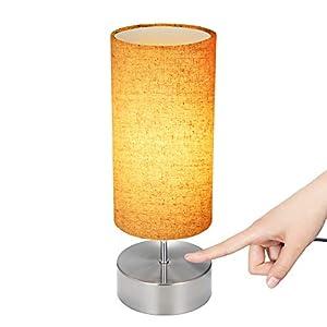 Tischlampe,Tischleuchte Nachttischlampe aus Stoff mit Touch-Design/3 Helligkeitsstufen Dimmbar für Wohnzimmer,Schlafzimmer,Büro(Ohne Birne)