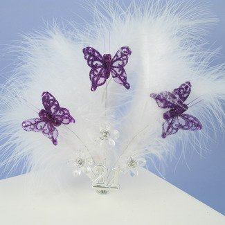 White Feather Cake Top With Purple Butterflies And Crystal Flowers