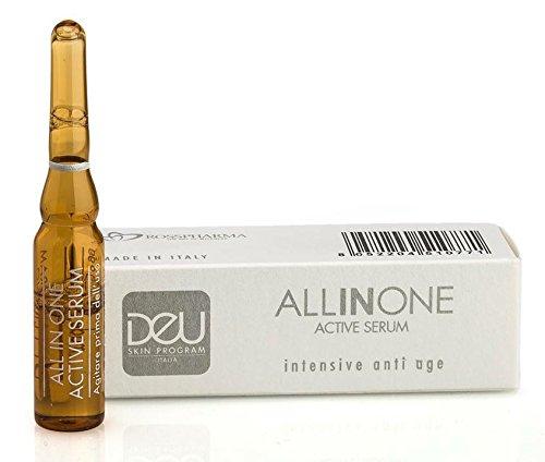 DeU All in One Active Serum - 1 Ampulle Intensiv Anti Aging Behandlung mit sofortigem Glätte-, Anti-Falten- und Straffungseffekt; mit Hyaluronsäure, Algen-Extrakt, Vitamin C, Ginseng und Kamille. Hochdosiertes Anti-Aging serum mit Soforteffekt
