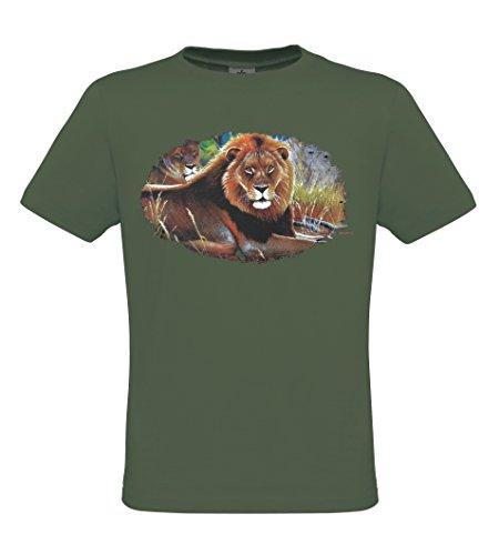 Ethno Designs Wildlife - Lions - Tiermotiv Raubtiere - Löwen T-Shirt für Damen & Herren - regular fit Khaki