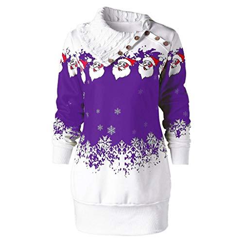 tmas Santa Claus Schneeflocke Print Plus Size Tunika Sweatshirt Kleid Abendkleider Cocktailkleid Partykleider Blusenkleid Mode 2018 ()