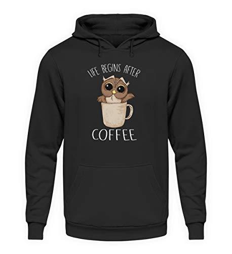 EBENBLATT Life Begins After Coffee Eule Kaffee Geschenk - Unisex Kapuzenpullover Hoodie -5XL-Jet Schwarz (Koffein Süchtig Kostüm)