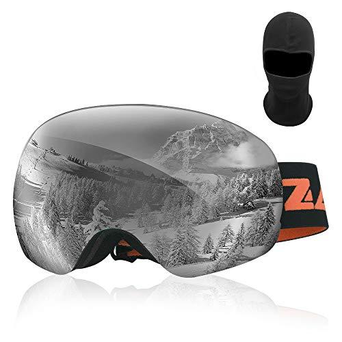 GapdiceEK Zacro Gafas de Esquí,Gafas de Snowboard Unisex,OTG 100% UV400 Protección Gafas de Esquí,Doble Esférica Lentes para Esquí, Snowboard, Moto de Nieve,Anti-Niebla y Anti-Nieve,Lente Gris