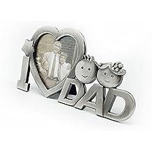 OULII I Love papá Metal foto foto marco padre presente para regalo día del padre (plata)