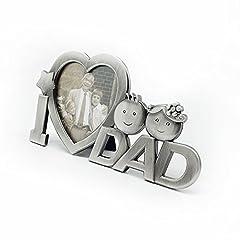 Idea Regalo - OULII Io amore papà metallo fotografia cornice festa del papà regali Home decorazione (argento)