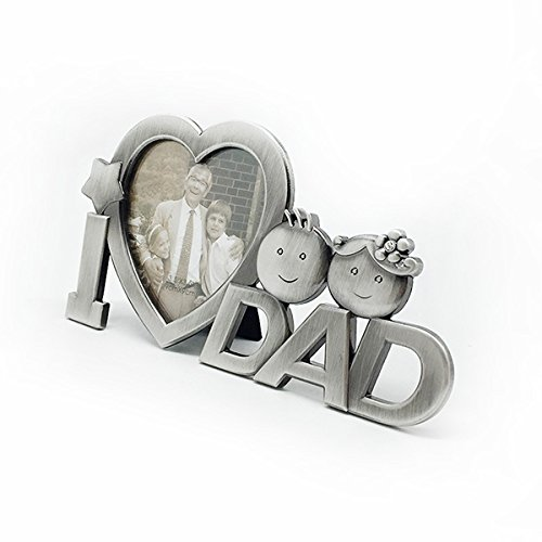 I love dad metal picture photo frame regali festa del papà decorazione della casa (argento)