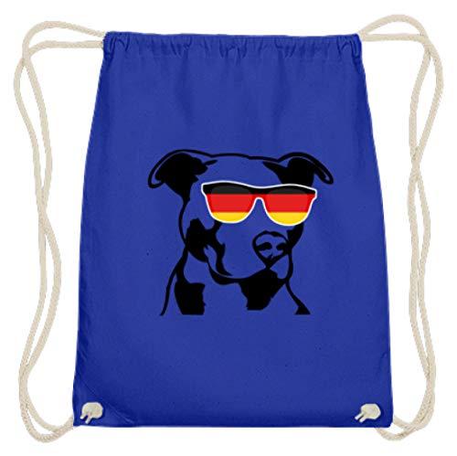 Deutscher Pit-Bull mit cooler Sonnenbrille - Perfekt für Hunde-Fans ! Deutschland-Fahne - Baumwoll Gymsac -37cm-46cm-Royales Blau