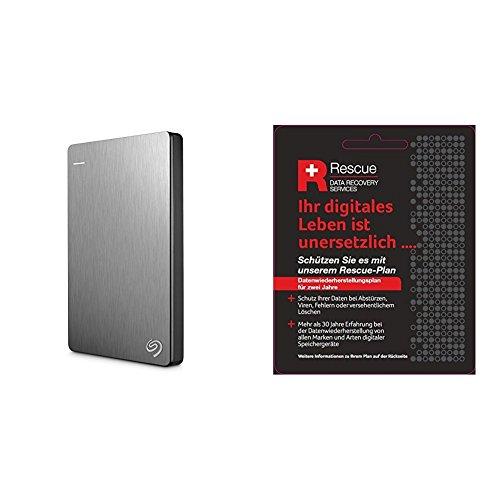 Seagate STDR2000201 Externe tragbare Festplatte (inkl. Backup-Software, USB 3,0, PC, MAC und PS4) + STZZ794 Produktkarte mit Code zur Registrierung, Backup Plus Slim 2 TB, silber