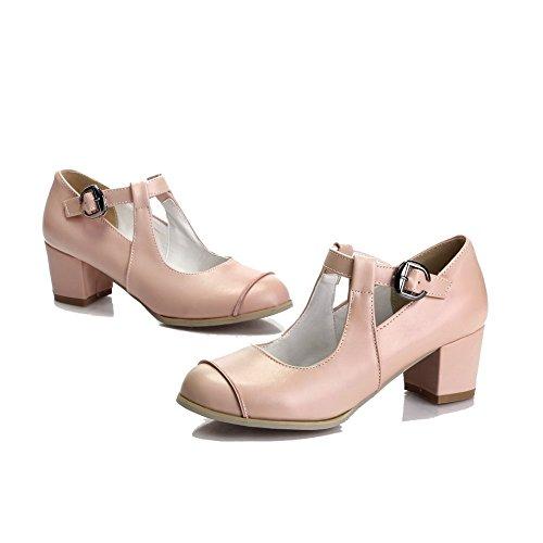 VogueZone009 Femme Rond Boucle Pu Cuir à Talon Correct Chaussures Légeres Rose