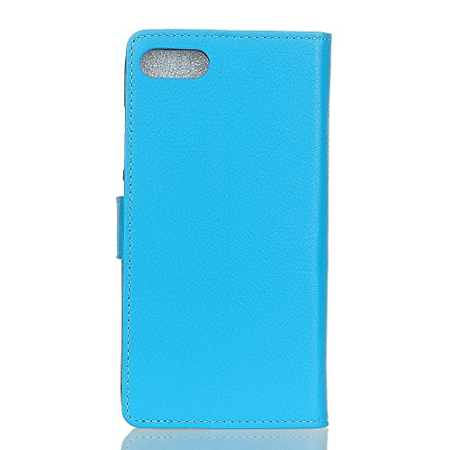 Solid Color Litchi Skin Muster Faux Ledertasche, Retro Folio Stand Case mit weichen Back Cover Geldbörse Tasche mit Kartensteckplätzen für Asus Zenfone 4 MAX ZC554KL ( Color : White ) Blue