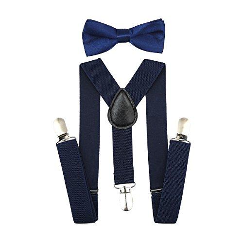 Kinder Hosenträger Y Form mit Fliege - 25mm mit 3 Clips Krawatte Set (Navy blau)