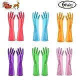 TopBine 6 Paare Haushalt Küche Reinigung Wasserdichte Handschuhe, gartenhandschuhe,Gummi handschu (6 Farben)
