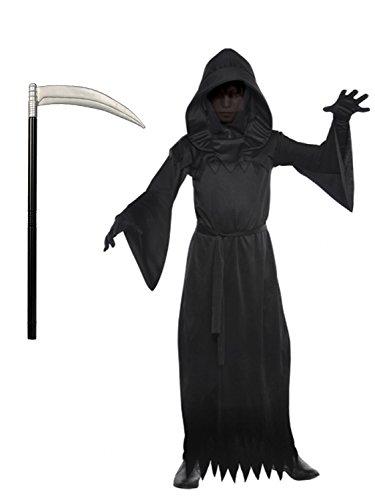 Phantom von Dunkelheit Kostüm und Sense - für Jungen - (Kostüme Dunkelheit)