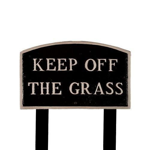 Montague Metall Produkte sp-27l-bs-ls groß schwarz und silber Keep Off The Grass Arch Statement Gedenktafel mit 223Rasen Einsatz