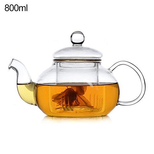 Hete-supply Hitzebeständige Glas-Teekanne aus Borosilikatglas-Teekanne, Kaffeekanne mit Deckel, rutschfest 800ml - Hitzebeständiges Glas Teekanne