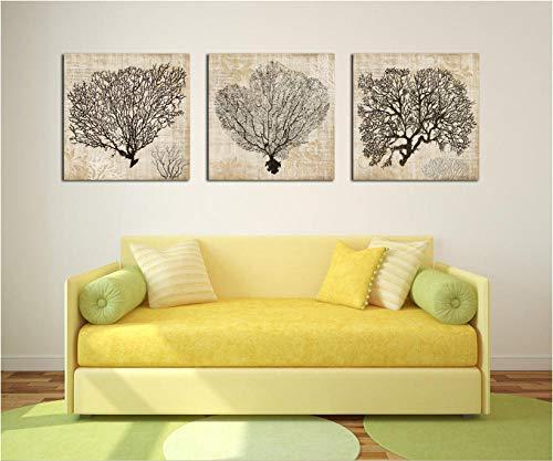 3 Stücke Korallen dekorative gemälde Dekoration für Wohnzimmer leinwand gemälde wandbilder-50 cm x 70 cm 3 stücke kein Rahmen