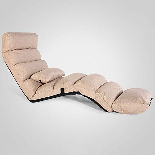 Oevina Sonnenliege Verlängern Lounge Sofa Bett Falten Verstellbare Bodenliege Sleeper Futon Matratze Sitz Stuhl W/Kissen 5 Stufen Einstellbar (Color : Beige)