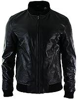 Mens Fitted Real Leather Black Varsity Bomber Jacket Classic Retro Vintage Black