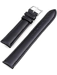 20mm Correa de Reloj Pulsera Cuero PU Color Negro Nueva Moda