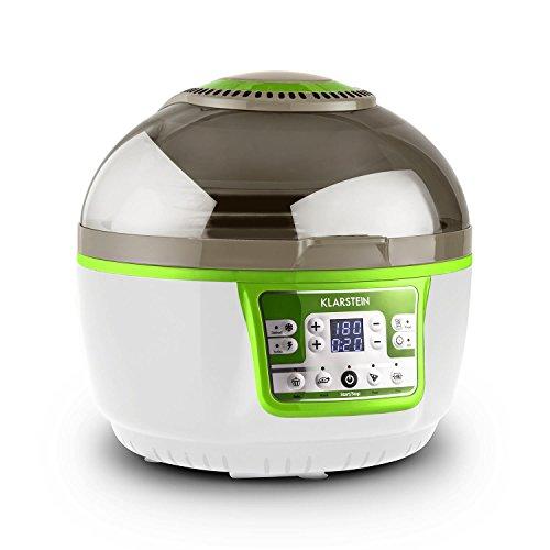 Klarstein VitAir Turbo • Heißluftfritteuse • Fritteuse • 1400 Watt • 9 Liter Garraum • fett-frei Frittieren • Backen • Grillen • Rösten • Halogen-Infrarot-Heizelement • grün-weiß