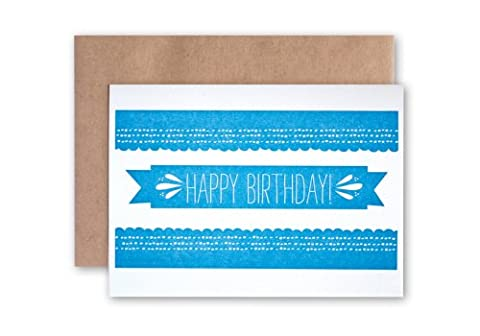 Tabletop Made GCB012 One Blue Banner Birthday Letterpress Printed 4-Bar Card inBlue Ink with