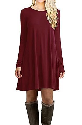 POSESHE Winter Damen Fashion Casual Kleid Langarm Mini Kleid Longshirt (Weinrot L)