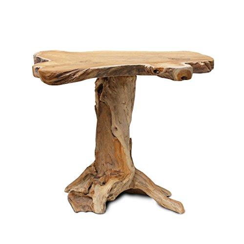floristikvergleich.de Gartentisch Blumentisch Tisch Hocker Beistelltisch Blumenhocker Massiv Unikat Natur Teakholz H105