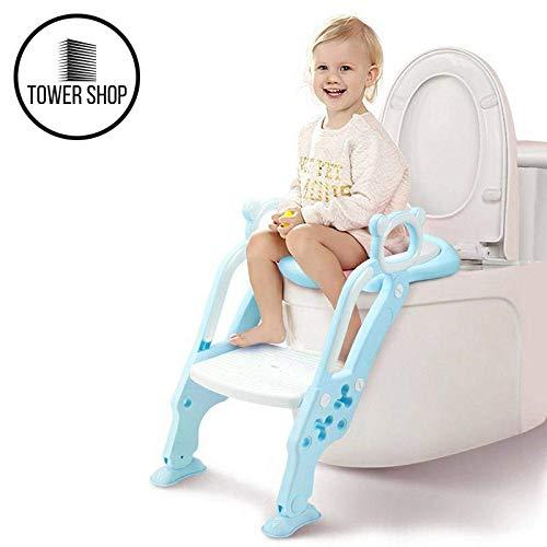 Wc Reducer (Tower Shop Töpfchentrainer, Kinder Töpfchen, Toiletten trainer mit Leiter, 2in1 Töpfchen, neues Modell 2019, hoher, bequemer und stabiler (hellblau))