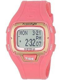 Freestyle Gromatide - Reloj digital de mujer de cuarzo con correa de goma rosa (alarma, cuenta vueltas, luz, cronómetro)