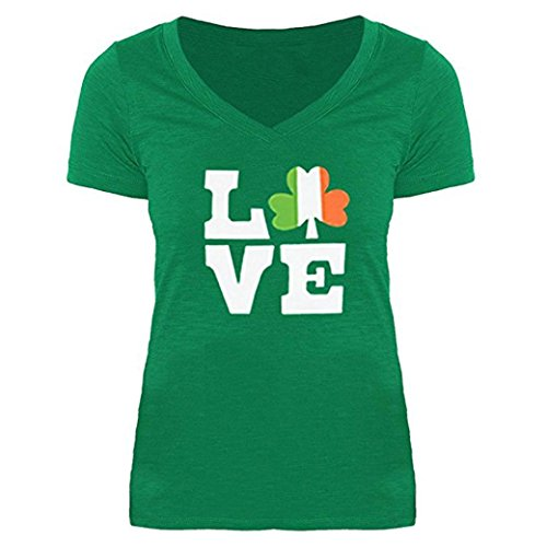 Malloom® Damen St. Patrick's Day Shamrock Grün Kurzarm T-Shirt mit V-Ausschnitt Frau V-Neck Klee Kurzarm-Shirt (L, B)