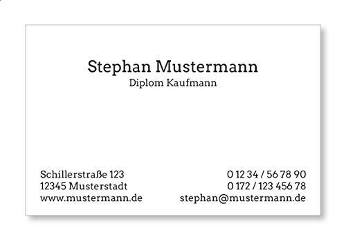 100 Visitenkarten, 350g/m Bilderdruck matt, 85 x 55 mm, inkl. Kartenspender - Classic Business